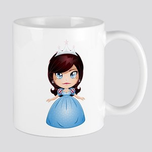 Princess With Black Hair In Blue Dress Mugs