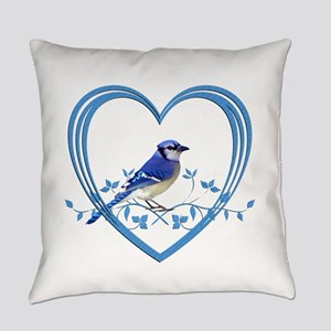 Blue Jay in Heart Everyday Pillow
