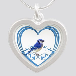 Blue Jay in Heart Silver Heart Necklace