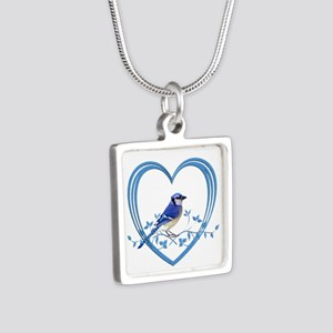 Blue Jay in Heart Silver Square Necklace