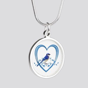 Blue Jay in Heart Silver Round Necklace