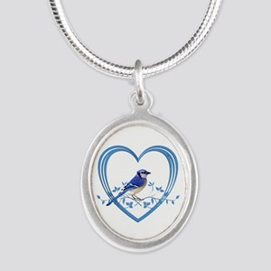 Blue Jay in Heart Silver Oval Necklace