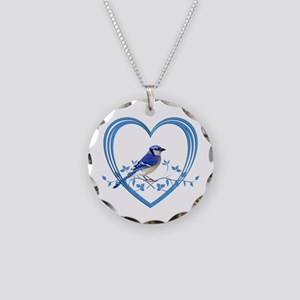 Blue Jay in Heart Necklace Circle Charm