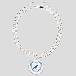 Blue Jay in Heart Charm Bracelet, One Charm