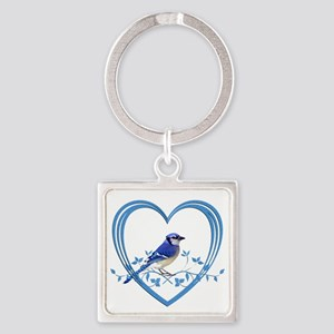 Blue Jay in Heart Square Keychain