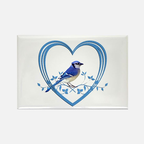 Blue Jay in Heart Rectangle Magnet (100 pack)