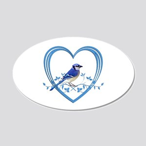 Blue Jay in Heart 20x12 Oval Wall Decal