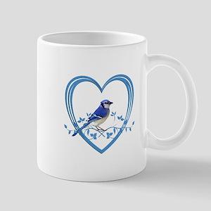 Blue Jay in Heart Mug