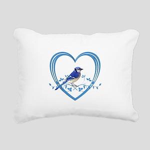 Blue Jay in Heart Rectangular Canvas Pillow