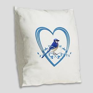 Blue Jay in Heart Burlap Throw Pillow