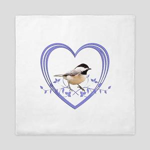 Chickadee in Heart Queen Duvet