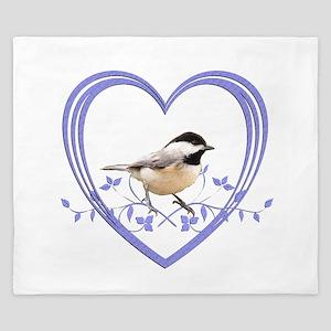 Chickadee in Heart King Duvet