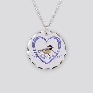 Chickadee in Heart Necklace Circle Charm