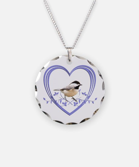 Chickadee in Heart Necklace