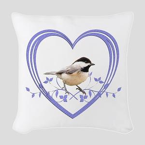 Chickadee in Heart Woven Throw Pillow