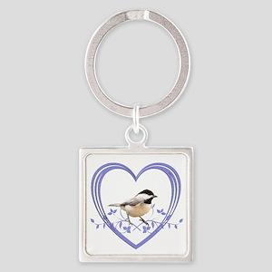 Chickadee in Heart Square Keychain