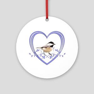 Chickadee in Heart Round Ornament