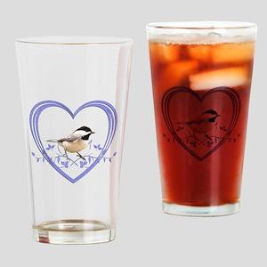 Chickadee in Heart Drinking Glass