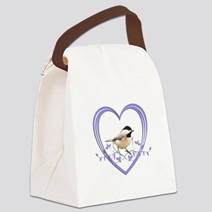 Chickadee in Heart Canvas Lunch Bag