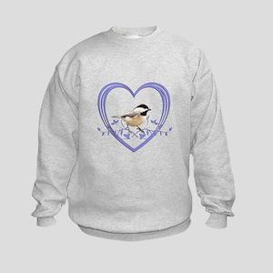 Chickadee in Heart Kids Sweatshirt