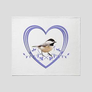 Chickadee in Heart Throw Blanket