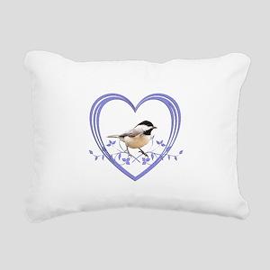Chickadee in Heart Rectangular Canvas Pillow