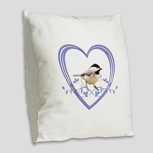 Chickadee in Heart Burlap Throw Pillow