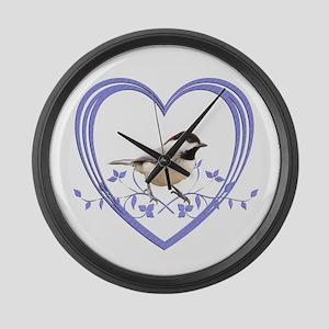 Chickadee in Heart Large Wall Clock
