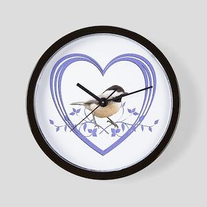 Chickadee in Heart Wall Clock