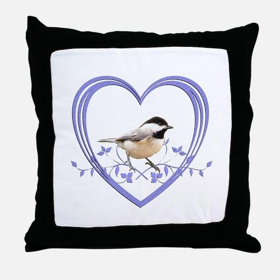 Chickadee in Heart Throw Pillow