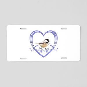 Chickadee in Heart Aluminum License Plate