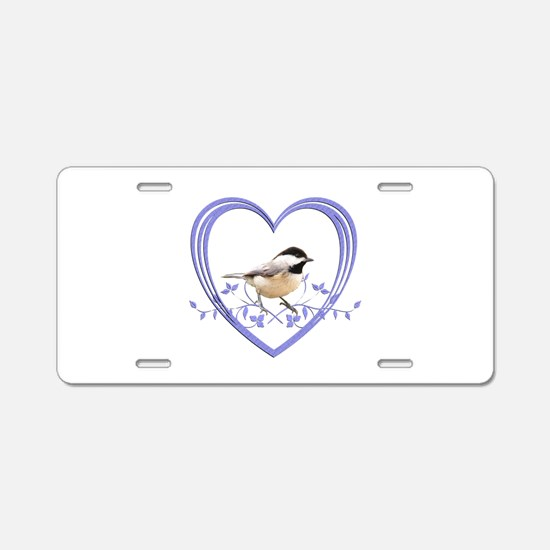 Chickadee in Heart Aluminum License Plate