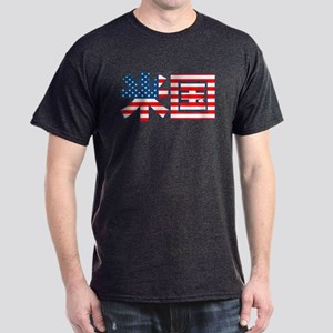USA Flag Kanji Dark T-Shirt