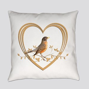 Robin in Heart Everyday Pillow