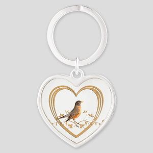 Robin in Heart Heart Keychain