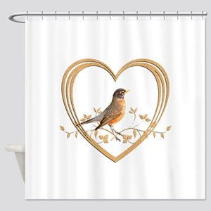 Robin in Heart Shower Curtain