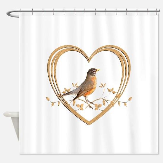 Robin in Heart Shower Curtain