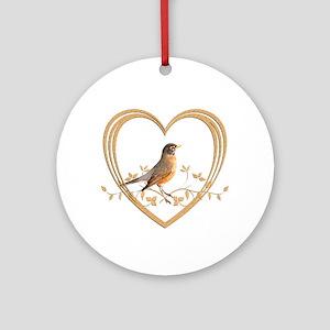 Robin in Heart Round Ornament