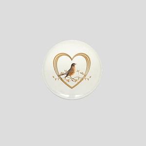 Robin in Heart Mini Button