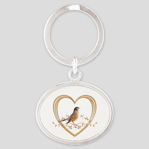 Robin in Heart Oval Keychain