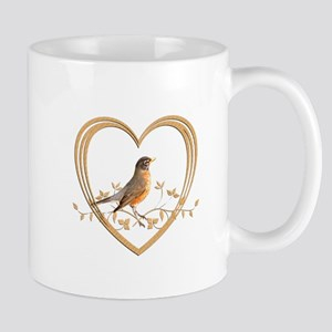Robin in Heart Mug