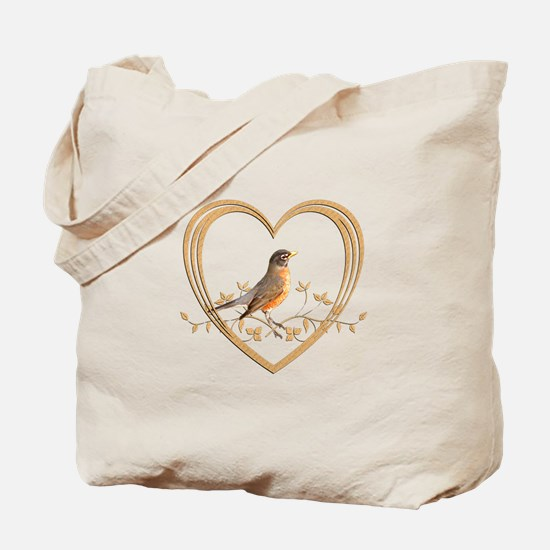 Robin in Heart Tote Bag