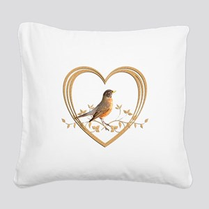 Robin in Heart Square Canvas Pillow