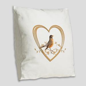 Robin in Heart Burlap Throw Pillow
