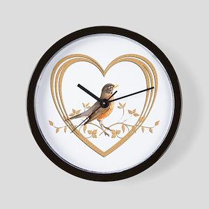 Robin in Heart Wall Clock