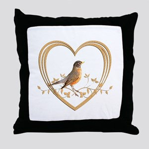 Robin in Heart Throw Pillow