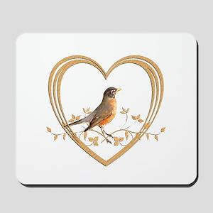 Robin in Heart Mousepad
