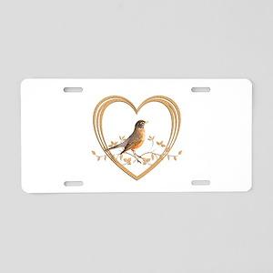 Robin in Heart Aluminum License Plate