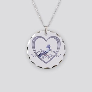 Pigeon in Heart Necklace Circle Charm