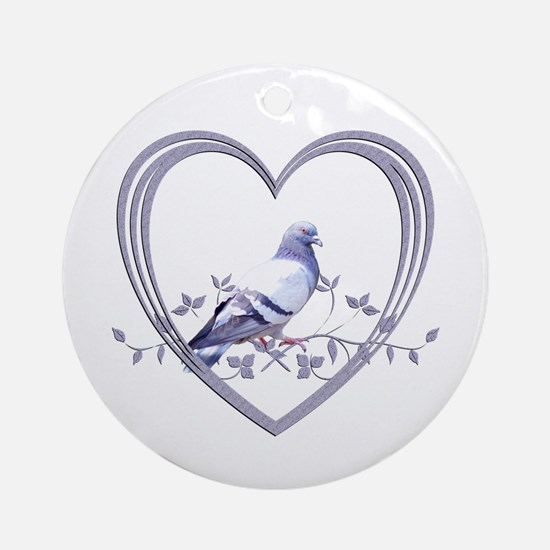 Pigeon in Heart Round Ornament